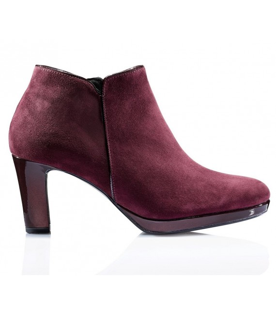 Bottines merlot en velours